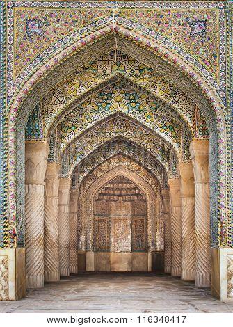 Shiraz, Iran - December 26, 2015: Beautiful Vakil Mosque, Shiraz, Iran