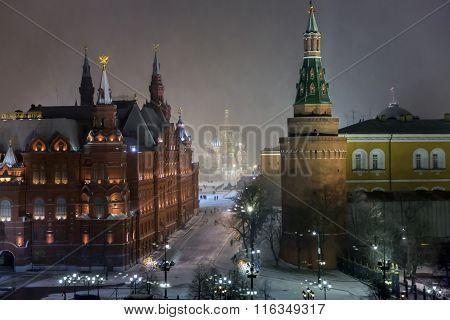 Night panorama of Manege Square