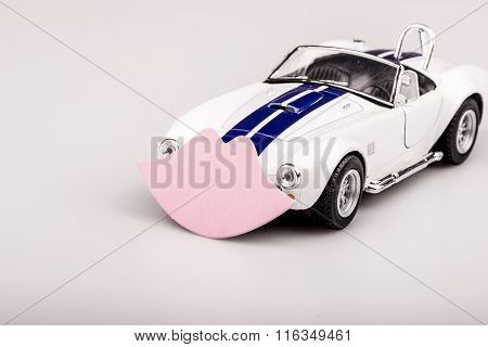 Bautiful Blue And White Car, Roadster With Pink Kiss