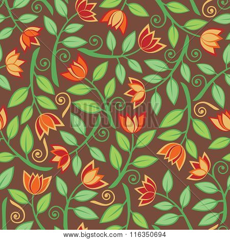 Seamless pattern of flowers and leaves on a brown background.