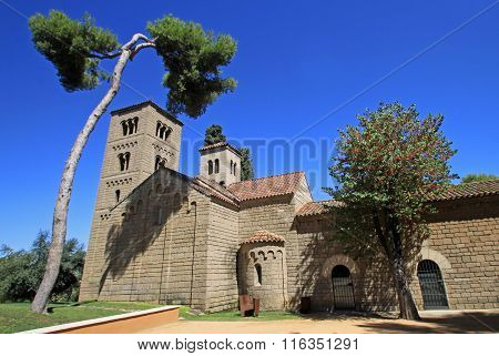 Barcelona, Spain - August 31, 2012: Romanesque Monastery Of Sant Miquel In Poble Espanyol Or Spanish