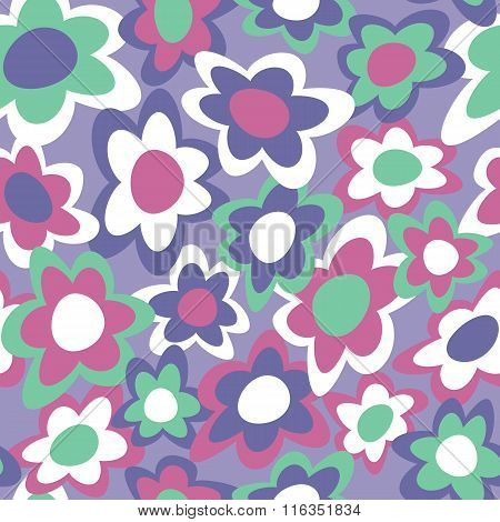 Funky Flowers retro-styled seamless pattern in violet, blue, green, magenta and white.