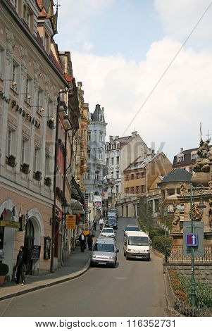 Karlovy Vary, Czech Republic - April 20, 2010: Buildings In Karlovy Vary Or Carlsbad That Is A Spa T