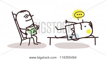 vector cartoon psychoanalyst with patient