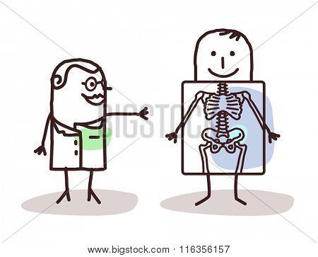 vector cartoon radiologist with patient