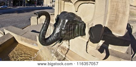 Detail Of Elephant As Water Spout Of Statue Of Johannes Gutenberg, Inventor Of Book Printing, Frankf