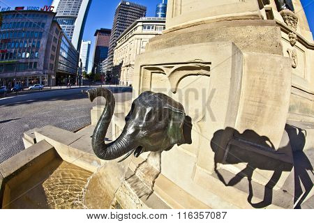 FRANKFURT, GERMANY - FEB 7, 2012: detail of elephant as water spout of statue of Johannes Gutenberg inventor of book printing Frankfurt Germany