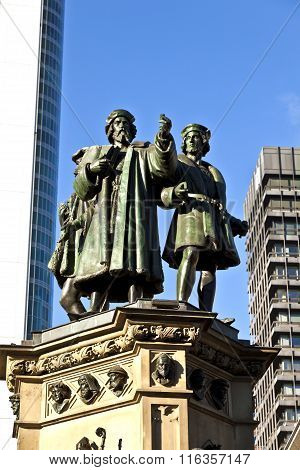statue of Johannes Gutenberg inventor of book printing Frankfurt Germany poster