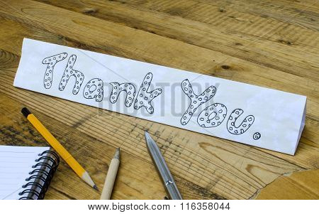 Thank You Wording On Paper On Wooden Background
