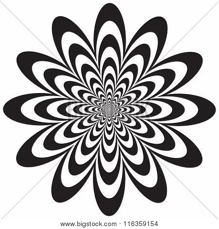 Op Art Flower optical illusion design in black and white. Vector: Colors are grouped for easy editing.