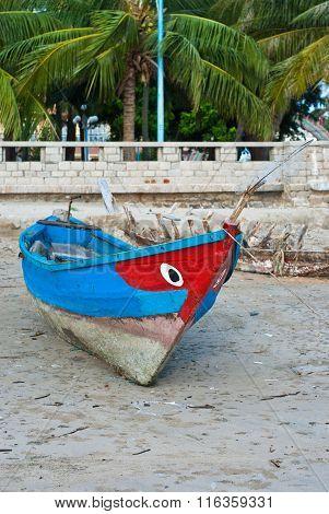 Boat fisherman on the beach. Vung Tau. Vietnam