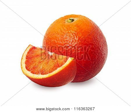 One And A Half Red Orange Over White Background.
