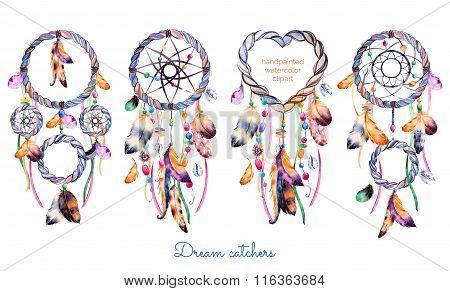 Hand drawn illustration of 4 dreamcatchers.