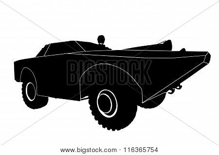 Silhouette of the car isolated on white background.