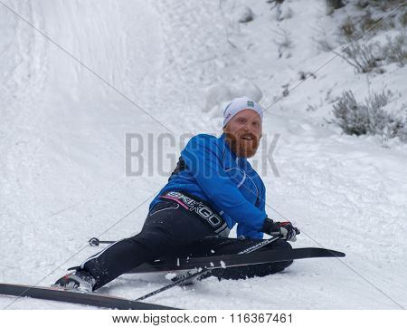 Smiling Cross Country Skiing Man Makes An Overturn In The Snow