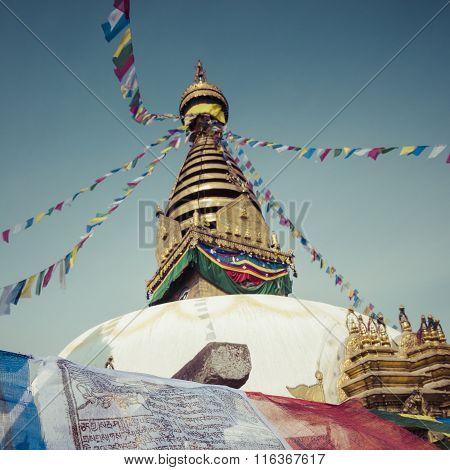 Stupa In Swayambhunath Monkey Temple In Kathmandu, Nepal.