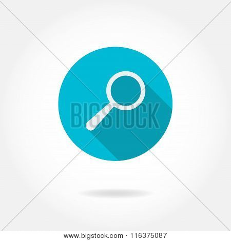 Magnifying glass icon or sign with long shadow. Vector illustration. Flat icon of magnifier.