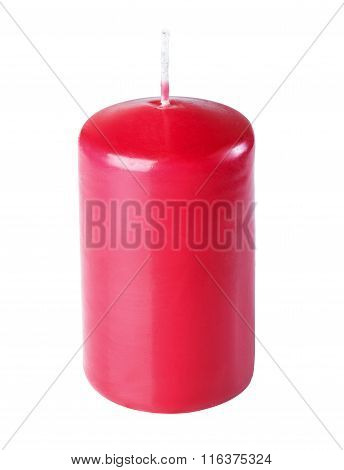 Paraffin Candles, Red, Isolate On A White Background, Close-up Photography.