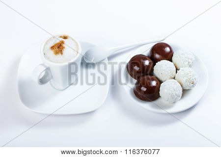 Cappuccino, Chocolate Candy, Candy Of Coconut, Close-up Photography.