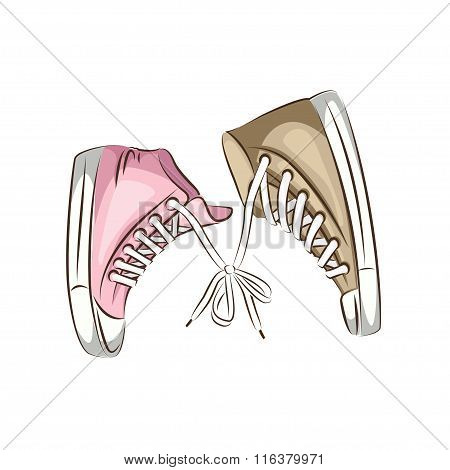 Male and female sneakers.
