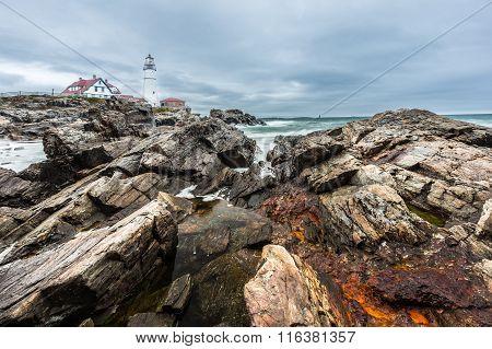 Portland Head Lighthouse In Cape Elizabeth, Maine In Strom
