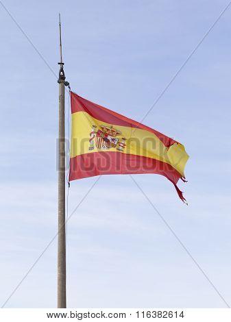 Flag Of Spain In The Fortress Of Santa Barbara