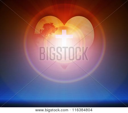 Crucifix And Light On Heart Background