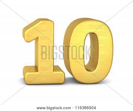 3D Number 10 Gold