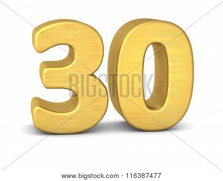 3D Number 30 Gold