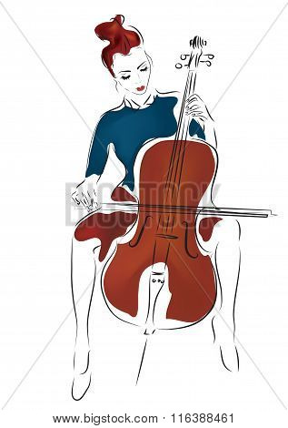 Young Cellist Woman Playing Cello