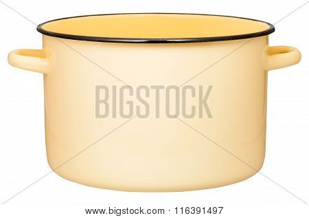 Side View Of Big Yellow Enamel Stockpot Isolated
