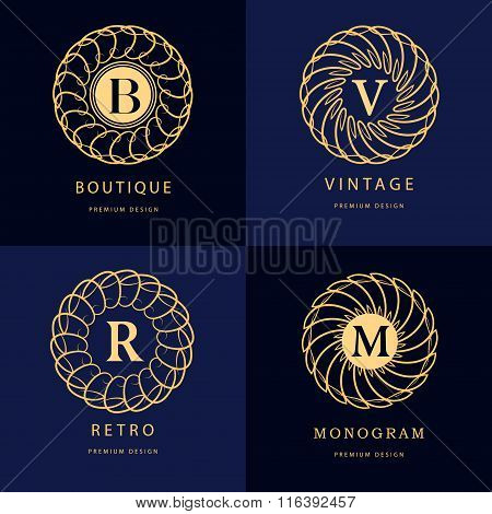 Monogram Design Elements, Graceful Template. Calligraphic Elegant Line Art Logo Design. Letter Emble