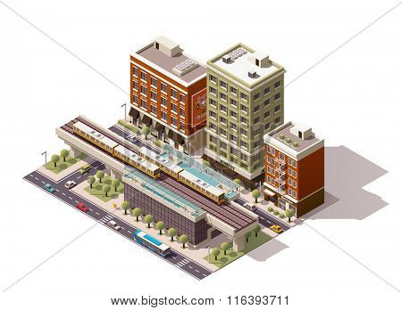 Isometric icon representing elevated train station