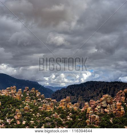 Stormy weather in Chiricahua National Monument in Southwest Arizona poster