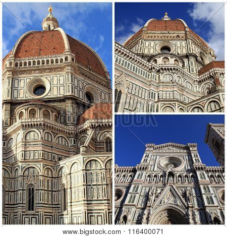 Travel photo collage of Amazing Cathedral of Santa Maria del Fiore (Il Duomo di Firenze), Florence, Italy. The basilica is one of Italy's largest churches UNESCO World Heritage Site. poster