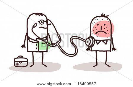 vector cartoon doctor with sick man