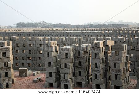 SARBERIA,INDIA, JANUARY 14: Brick factory in Sarberia, West Bengal, India on January 14, 2009. The Indian brick industry is the second largest in the world after China.