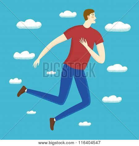 Beautiful Happy Boy Jumping