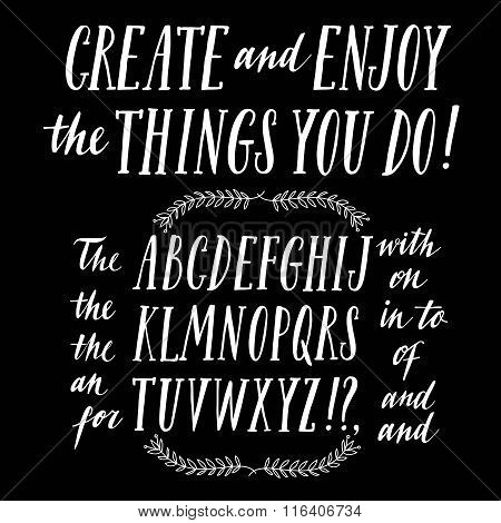 Brush Hand Drawn Vector Font Wih Catchwords