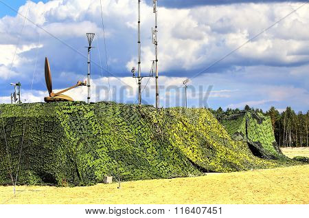 RYAZAN REGION  AUGUST 2: Camouflaged military object of the field radio communication complex  - on August 2, 2015  in Ryazan region