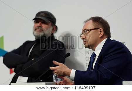 ST. PETERSBURG, RUSSIA - DECEMBER 16, 2015: Rector of SPbSU Nikolay Kropachev (right) and theater director Andrey Moguchy during the final plenary session of 4th St. Petersburg Cultural Forum