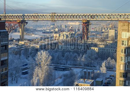 Kanonersky Island Of Saint-petersburg, Russia, Construction Of Speed Highway Overpass.