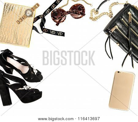 Fashion mock up with business lady accessories on white background. Shopping desktop. Product display
