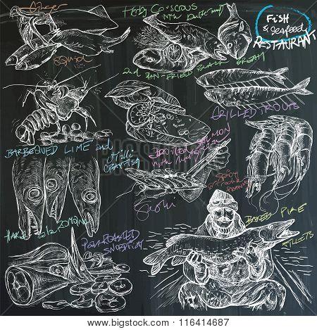 (blackboard) Food - Fish And Seafood Restauration