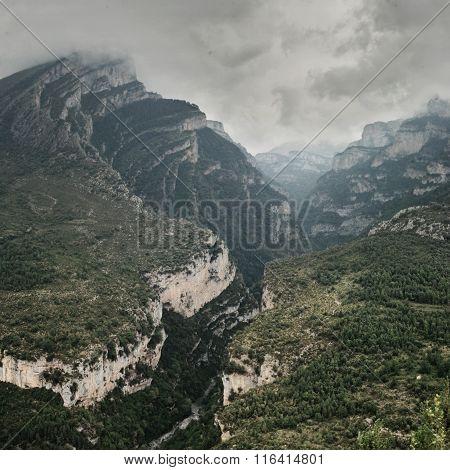 Mountain Valley, Valle De Anisclo, Pyrenees, Spain
