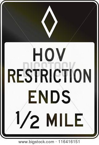United States Mutcd Regulatory Road Sign - High Occupancy Vehicle Lane Ends