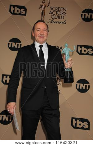 LOS ANGELES - JAN 30:  Kevin Spacey at the 22nd Screen Actors Guild Awards at the Shrine Auditorium on January 30, 2016 in Los Angeles, CA