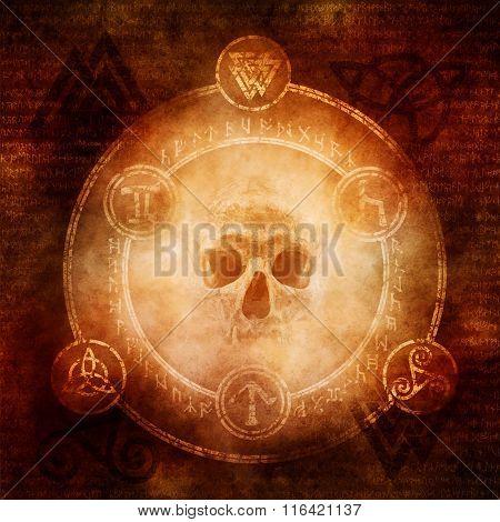 Pagan Dark Magic design with a sinister skull materialising within a magic circle of elaborate pagan and runic symbols. poster