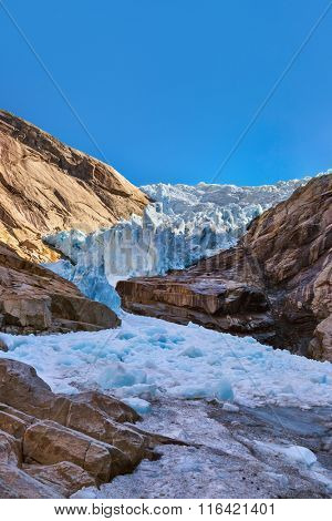 Briksdal glacier - Norway - nature and travel background