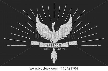 Phoenix Symbol Vintage  Logos, Emblems, Silhouettes And Design Elements. Symbolic Logos With Grunge